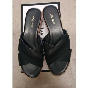 Nine West Size 8 Wedge Leather Sandals