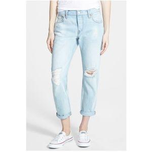 Levi Strauss Light-Wash Distressed Boyfriend Jeans
