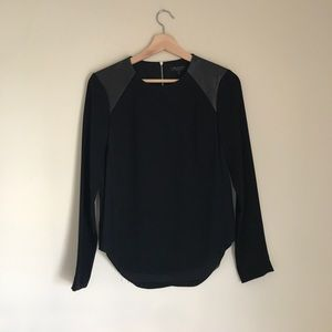 Rag and bone silk leather detail blouse