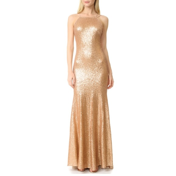 Theia Dresses | Jessica Gold Sequin Gown | Poshmark