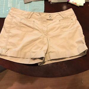 White House black market beige shorts