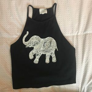 black crop trop lace elephant