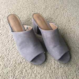 Grey Faux-Suede Mules