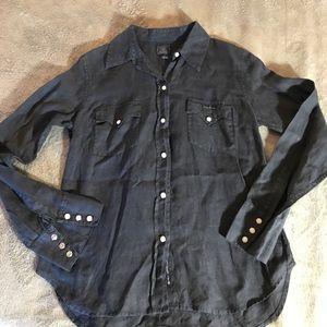 Lucky Brand 100% Linen Western Snap Shirt