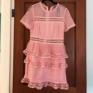 Dresses & Skirts - Pink short sleeve lace party dress