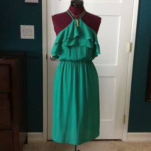 Kelly green Everly ruffle dress