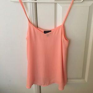 TOPSHOP bright pink/orange Chiffon Tank