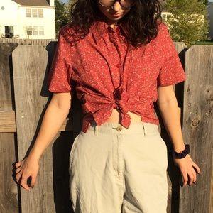 Vintage 1990's Red Floral Short Sleeve Blouse