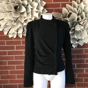 St. John Side Snap Button High Neck jacket Ruched
