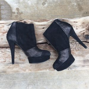 BCBGeneration suede shimmer stiletto ankle boot