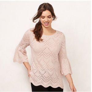 Gray LC Lauren Conrad Eyelet Crewneck Sweater