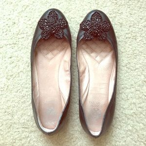 Vince Camuto black bead flower flats size 9