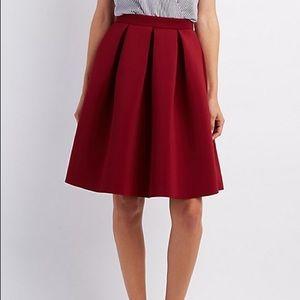 Charlotte Russe Pleated Scuba Skater Skirt - red