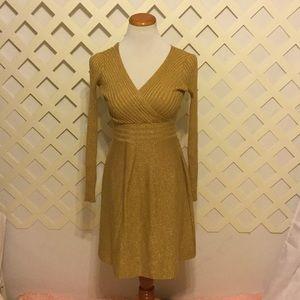 Long Sleeve Metallic Gold Sweater Dress