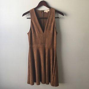 Eight Sixty V-Neck Suede Dress