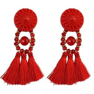 Red Button Tassel stud earring