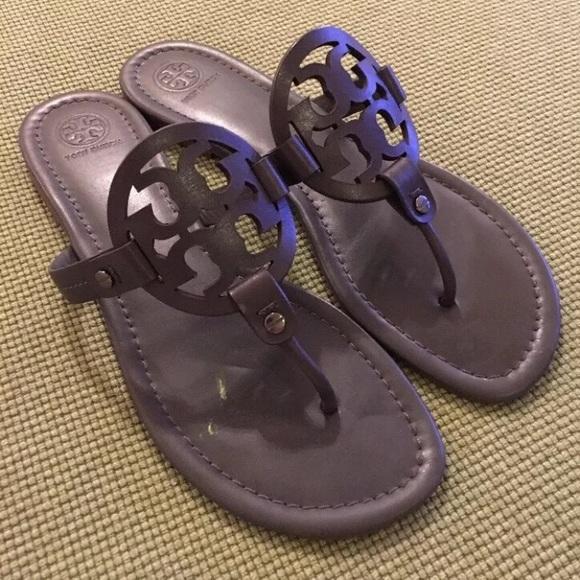 306cab7133d7a Tory Burch dark Gray grey Miller Sandals Sz 10. M 59e3caf69c6fcf17460830c6