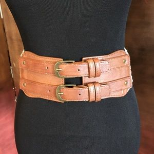 Forever 21 Crochet & Faux Leather Stretch Belt