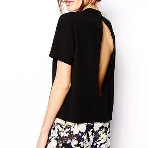 Asos black open back short sleeve top