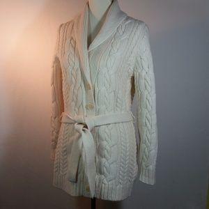 Cream Cable Knit Wool Nylon Long Cardigan