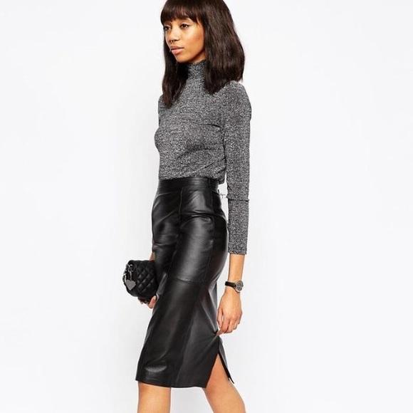 0ea85ad93 ASOS Skirts | Genuine Leather Real Pencil Skirt Uk 8 Us 4 | Poshmark