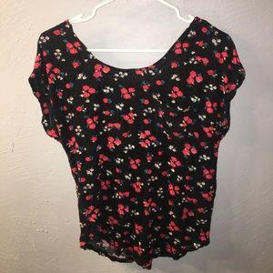 Kirra black top with floral pattern