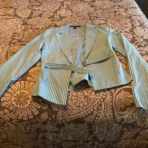 Turquoise and yellow express buckle jacket