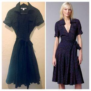 RARE Diane Von Furstenberg Blue Eyelet Dress 8 6