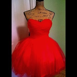 Red Strapless Chiffon Vintage Dress 50's!!