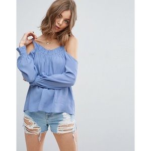 ASOS Cold Shoulder Top with Ruffle Edge