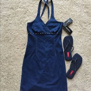 Hot denim mini halter dress & shoes size 8 BLING!