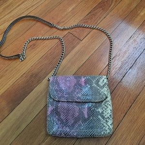 Small faux snake skin leather cross body bag
