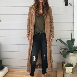 Vintage faux suede boho trench coat
