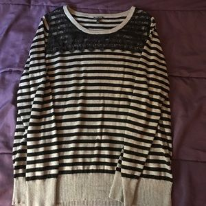 Black & Gray Striped Sweater With Lace