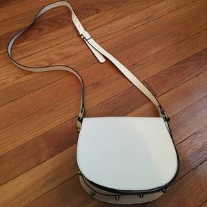 White faux leather cross body bag