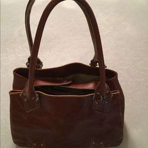 ColeHaan brown pebble leather handbag