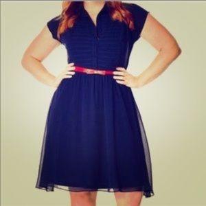 City Chic navy dress w/red bow belt, Sz. XXL