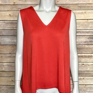 {nine west} red elegant sleeveless blouse