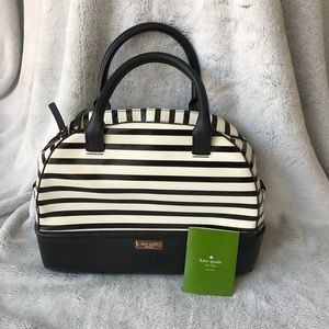Kate Spade Chelsea Park Striped Leather Satchel