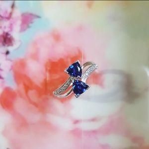 Kay Sapphire Blue White Gold Silver 10k Ring