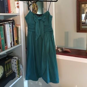 Betsy Johnson mini dress S/M teal blue with bow