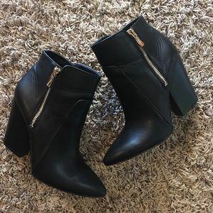 BCBG Jules high-heel pointed-toe zipper booties