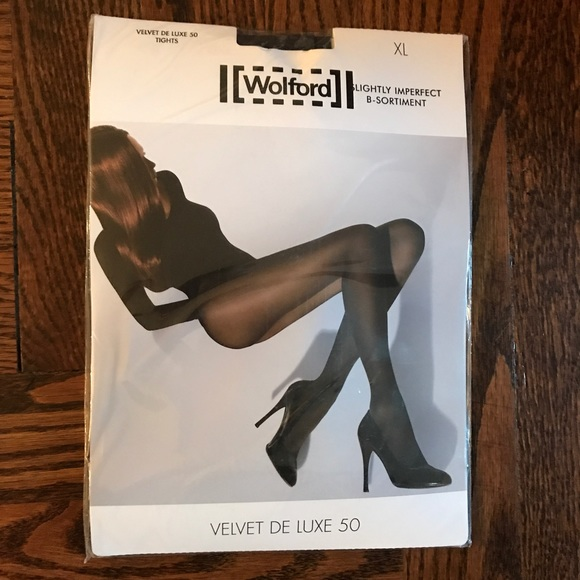 4773222e9e3 Wolford Velvet de Luxe 50 Tights Anthracite XL NWT