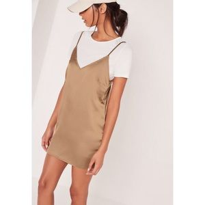 Missguided petite satin 2-in-1 dress gold