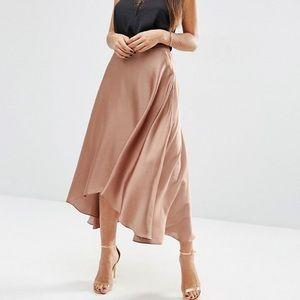 Copper Satin Midi High Low Skirt