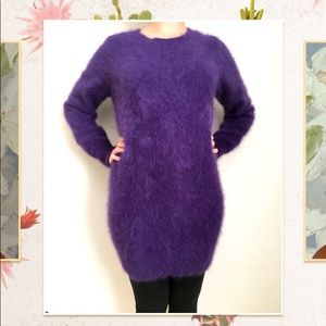 Real mink fur sweater dress, real fur purple dress