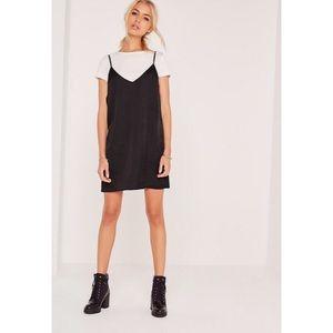 Missguided petite satin 2-in-1 dress black