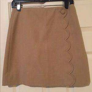 J. Crew khaki scalloped skirt