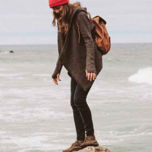 Betabrand Black Sheep Wrap Sweater Wool Hooded SM