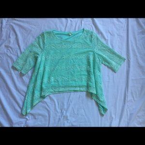Gianni Bini Mint green lacy crop top